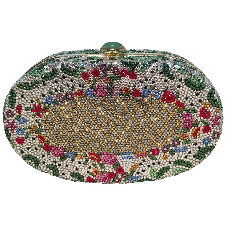 Judith Leiber Vintage Swarovski Crystal Floral Print Oval Minaudiere Evening Bag