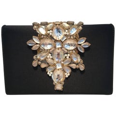 Oscar De La Renta Black Embellished Silk Evening Bag