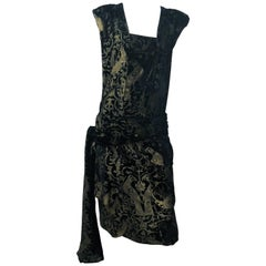 Maria Gallenga Black Silk Velvet Dress with Hand-Stenciled Novelty print, 1920s
