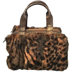 Nancy Gonzalez Leopard Print Fur and Crocodile Baguette