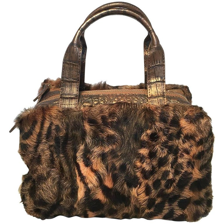 Nancy Gonzalez Leopard Print Fur and Crocodile Baguette For Sale