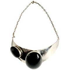 Modernist Native American Style Sterling Silver & Onyx Choker Necklace-Signed