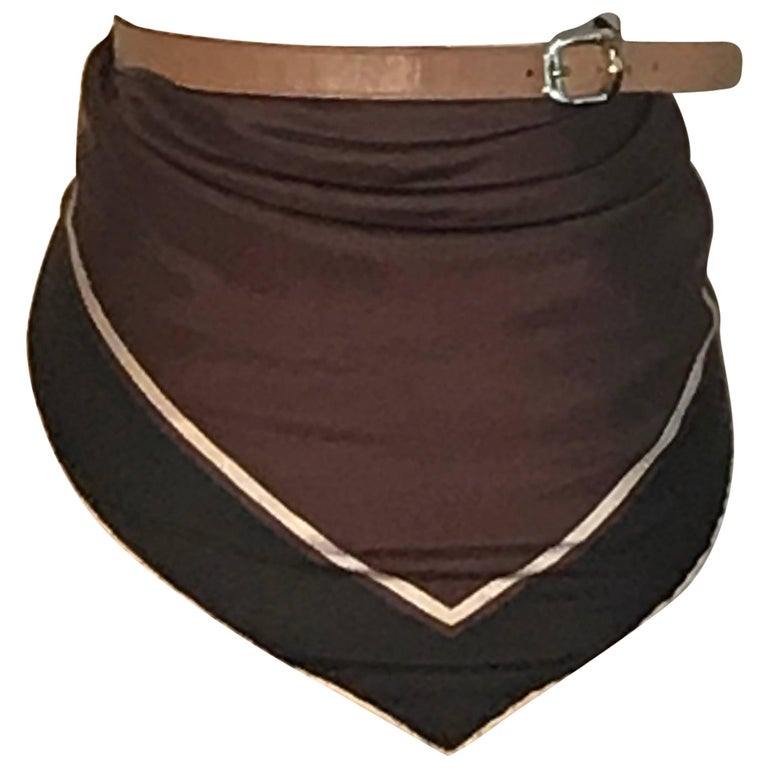 Gucci Silk and Leather Brown All in One Scarf Top Belt