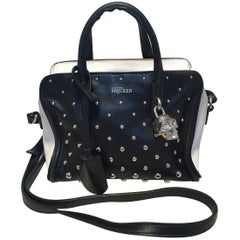 Alexander McQueen Mini Studded Padlock Zip Around Black and White Tote Bag