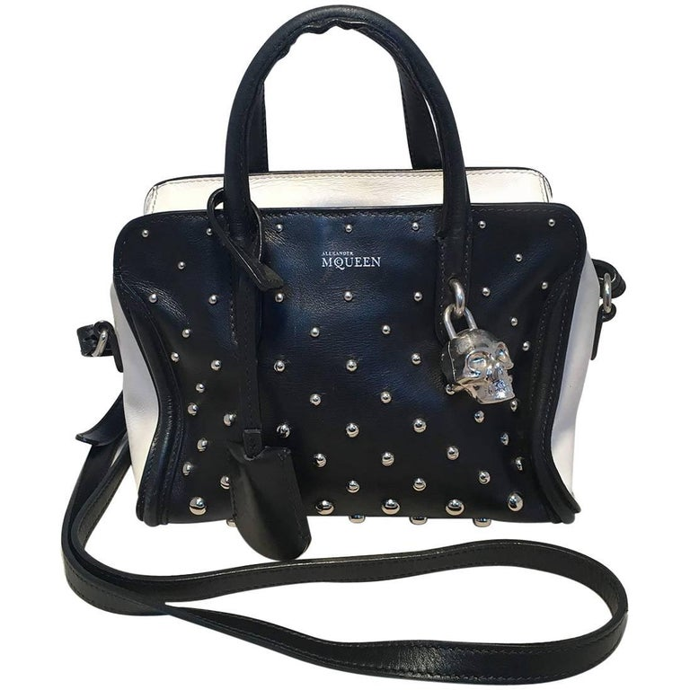 499d9526af9e Alexander McQueen Mini Studded Padlock Zip Around Black and White Tote Bag  For Sale