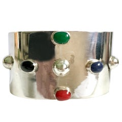 20th Century Taxco 925 Sterling & Semi Precious Stone Cuff Bracelet-Mexico