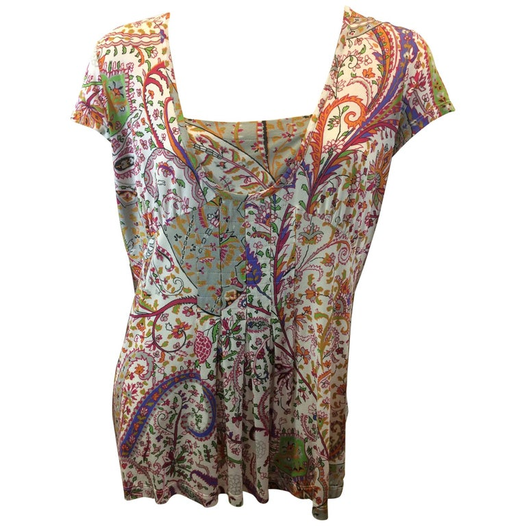 Etro Floral Print Pleated Blouse