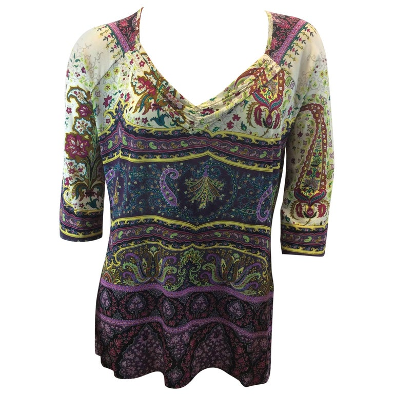 Etro Purple Print Blouse