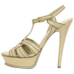 YSL Beige Tribute Platform Sandals Sz 37