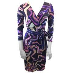 Emilio Pucci Purple Print Silk Wrap Dress