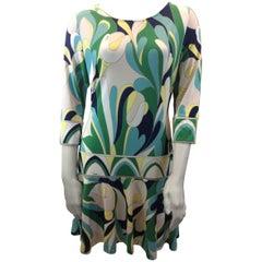 Emilio Pucci Green and Blue Print Silk Dress