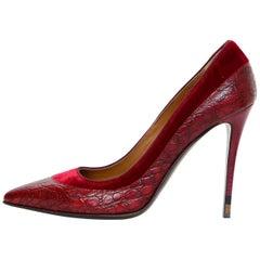 Fendi Red Embossed Croc & Velvet Anne Pumps Sz 39