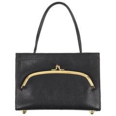 COACH c.1967 BONNIE CASHIN Black Pebbled Leather Kiss Lock Mini Tote Bag Purse