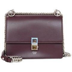 Fendi Burgundy Leather Kan I Small Shoulder/Crossbody Bag rt. $1,790