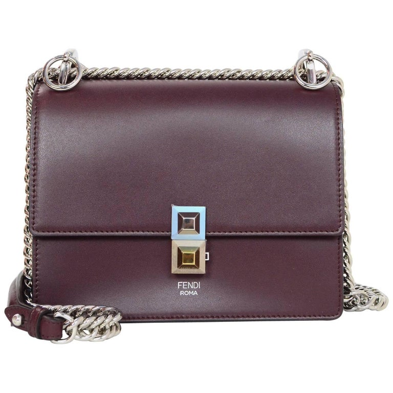 Fendi Burgundy Leather Kan I Small Shoulder/Crossbody Bag rt. $1,790