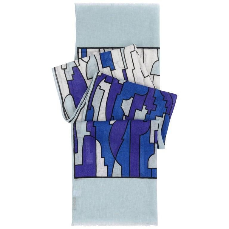 """EMILIO PUCCI c.2009 """"Cancello"""" signature print blue geometric linen scarf / wrap"""