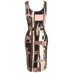Oscar de la Renta Cream Pink and Tan Abstract Print Cotton Pencil Dress