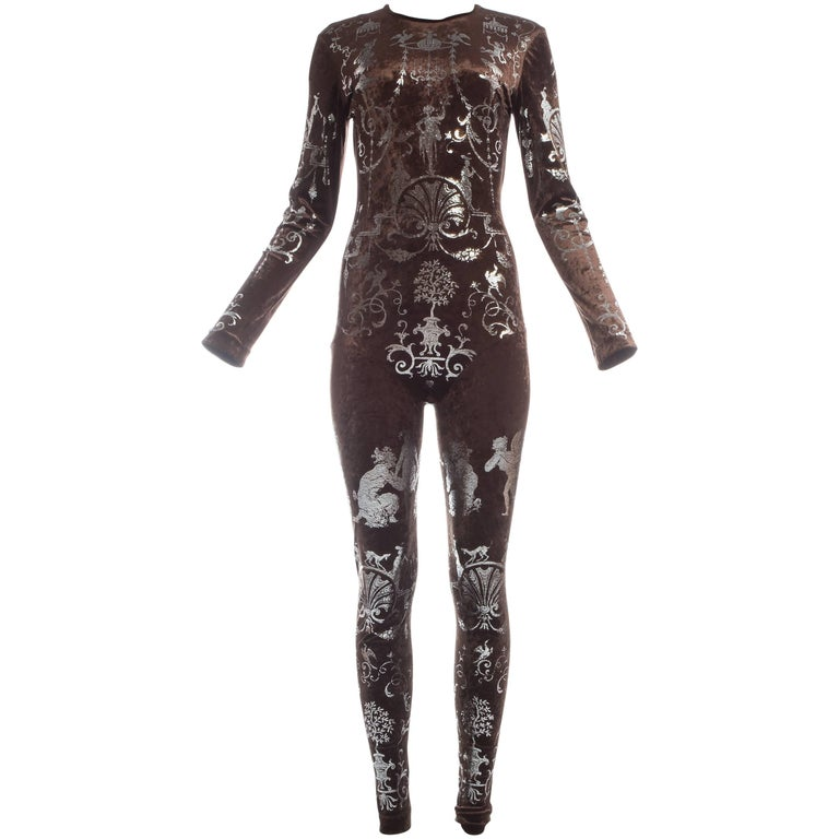 Vivienne Westwood brown velvet body stocking with silver print, A/W 1990