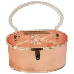 Pink Lucite Purse Handbag with clear carved lid