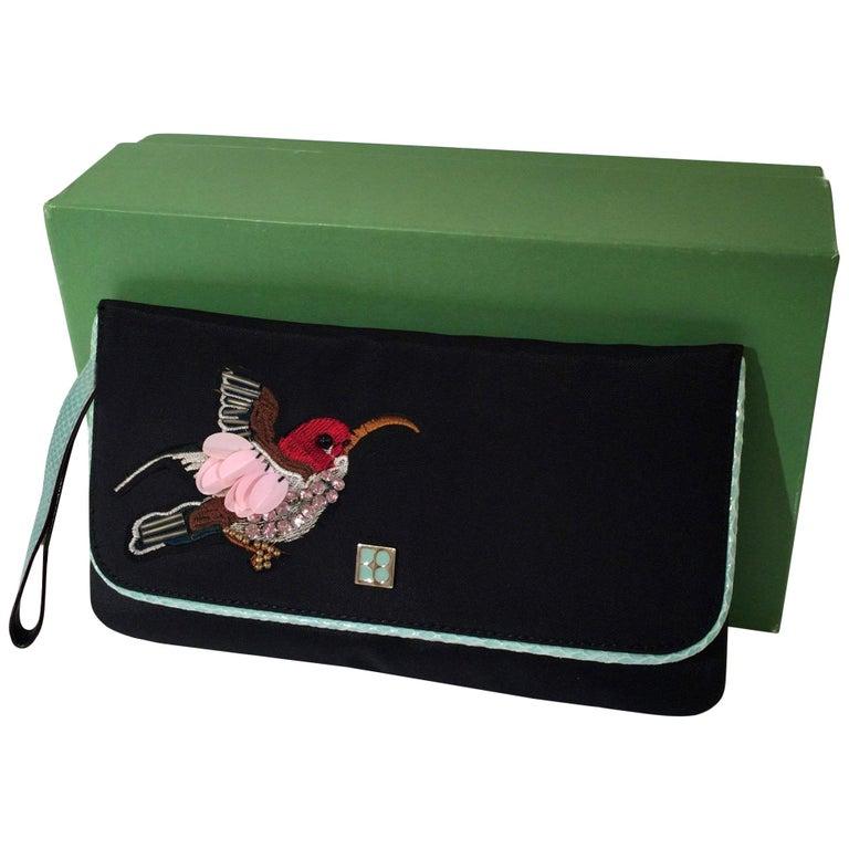 New Kate Spade Spring 2005 Snakeskin Bird Clutch Wristlet Bag  For Sale
