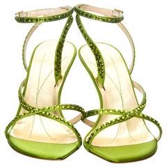 New Kate Spade Spring 2005 Collection Lime Green Swarovski Heels Sz 10