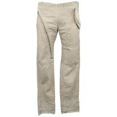 DRKSHDW Men's Beige Dirty Wash Distressed Cotton Zip Panel Pants