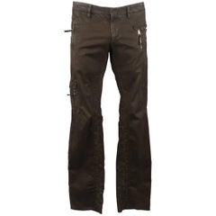 Neil Barrett Men's Brown Cotton Zip Pocket Casual Pants