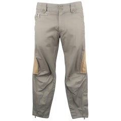 Dries Van Noten Men's Gray Cotton Tan Stripe motorcycle Pants
