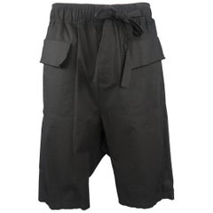 Damir Doma Men's Black Cotton Flap Pocket Drop Crotch Shorts