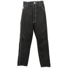 Junya Watanabe Men's Black Contrast Stitch Cotton Work Pants