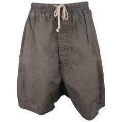 DRKSHDW Men's Charcoal Washed Dye Cotton Drop Crotch Shorts