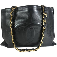 Chanel Black Lambskin Flat Chain Tote