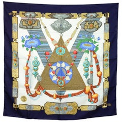 Hermes Navy Tibet Silk 90cm Scarf with Box