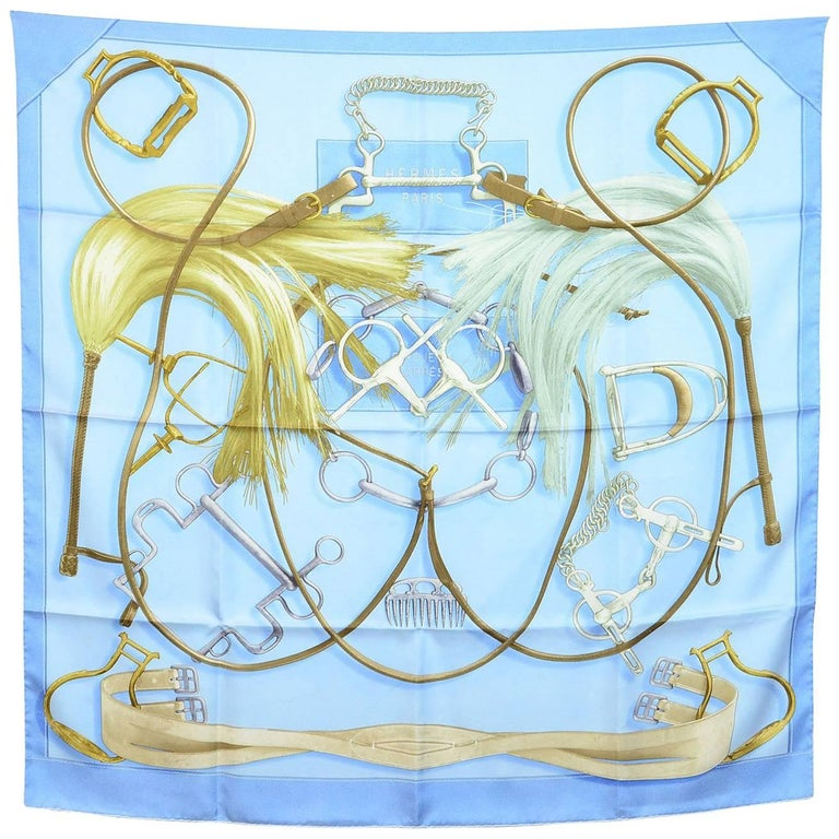 Hermes Blue Projects Carres Silk 90cm Scarf with Box