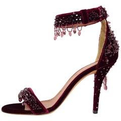 Givenchy Burgundy Velvet Beaded Infinity Sandals Sz 39 NEW