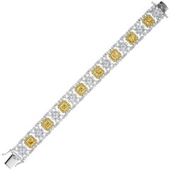 Magnificent Costume Jewelry Canary And White Synthetic Diamond Bracelet