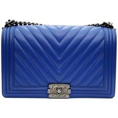 Chanel Electric Blue Leather Boy Bag
