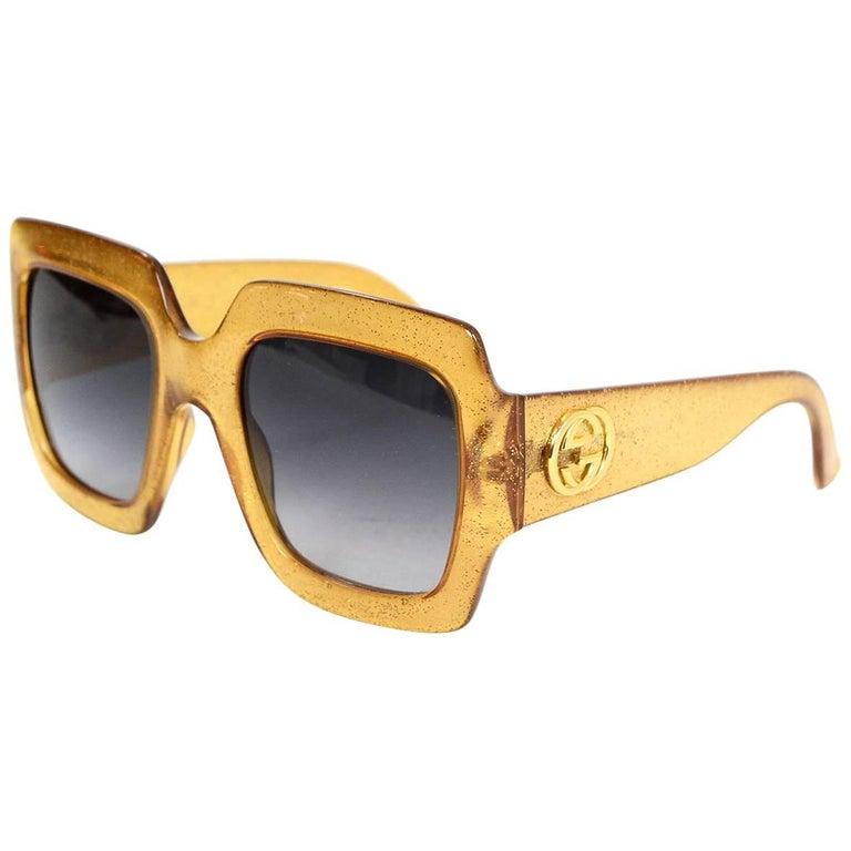 Gucci Gold Glitter Acetate Square Frame Sunglasses with Case