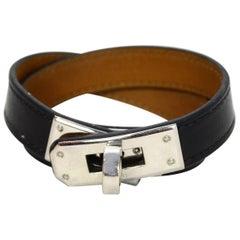 Hermes Black Leather Kelly Double Tour Bracelet Sz S