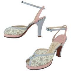 1940's James Kean 'Urbanites' Platform Peep Toe Shoes Sz 5N