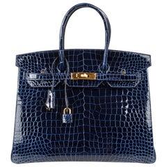 Hermes Birkin 35 Bag Blue Sapphire Porosus Crocodile Gold Hardware New