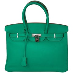 Hermes Menthe Birkin 35 Clemence Leather