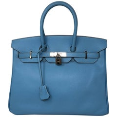 Hermes Candy Edition Blue Birkin 35 Mykonos Interior