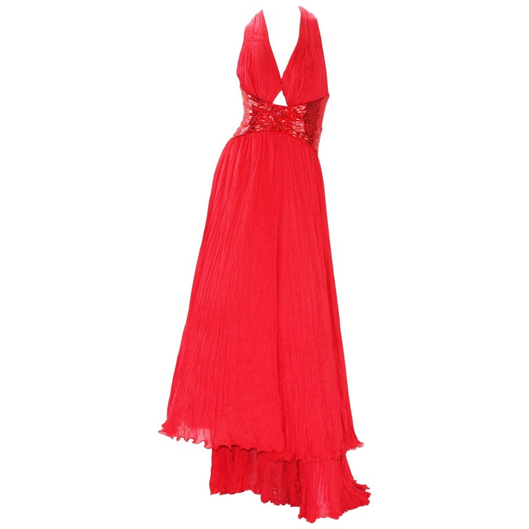 New Roberto Cavalli Red Silk Plisse Marilyn Monroe Style Open Back Cut Out Gown