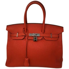 Hermes Poppy Orange Red Birkin 35 Bag