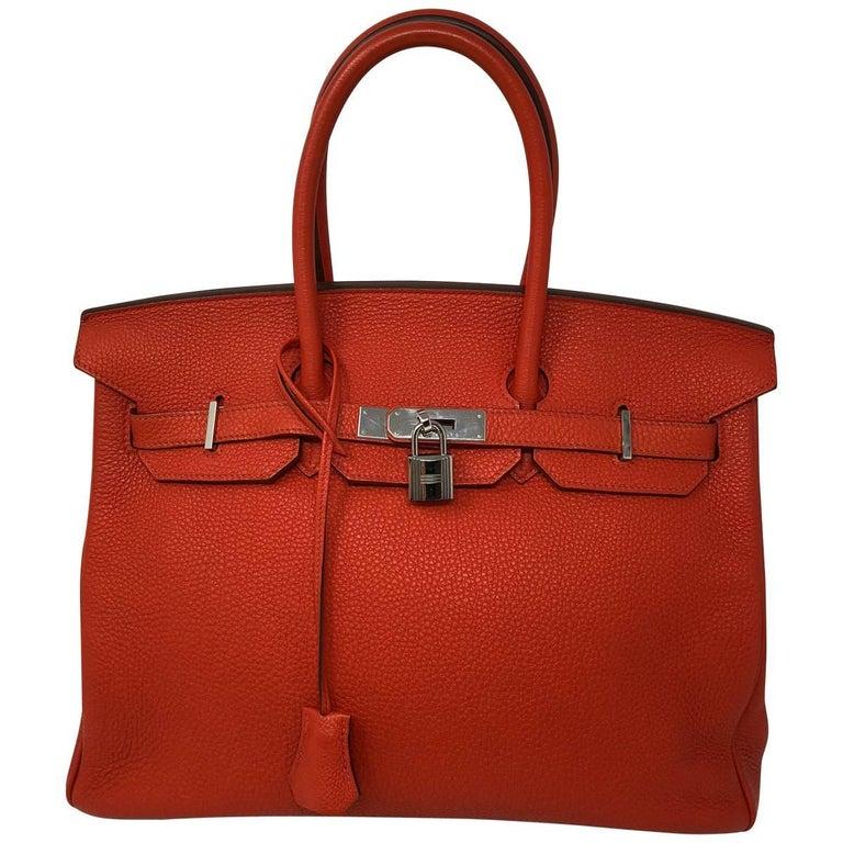 b37dad43b71d Hermes Poppy Orange Red Birkin 35 Bag at 1stdibs