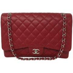 Red Chanel Caviar Maxi Flap