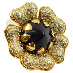 Valentino Signed Jewel Paved and Black Resin Floral Pin Brooch