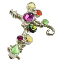 Christian Lacroix Paris Signed Silvered Metal Jeweled Cross Pin Brooch