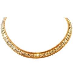 1965 Gold Plate & Swarovski Crystal Rhinestone Choker Necklace By, Hobe